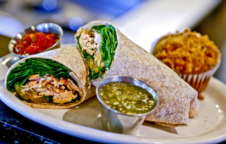 Photo - VZD'S BOX LUNCH: Salmon wrap with banana crumb muffin.  Photo by Chris Landsberger, The Oklahoman  CHRIS LANDSBERGER - CHRIS LANDSBERGER
