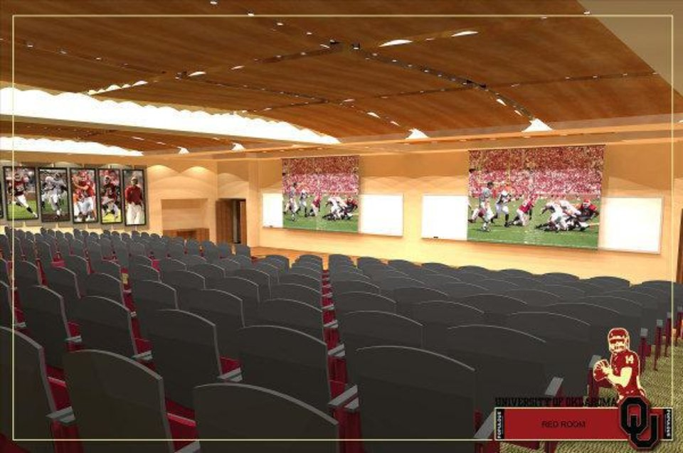 Photo - Artist rendering of renovated Red Room that is part of Phase IV of the renovation of Gaylord Family - Oklahoma Memorial Stadium. PHOTO PROVIDED