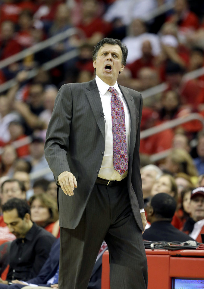 Houston Rockets coach Kevin McHale questions a foul call during the first quarter of Game 4 in their first-round NBA basketball playoff series against the Oklahoma City Thunder Monday, April 29, 2013, in Houston. (AP Photo/David J. Phillip)