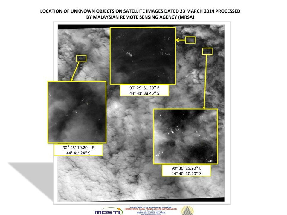 Photo - This graphic released by the Malaysian Remote Sensing Agency on Wednesday March 26, 2014, shows satellite imagery taken on March 23, 2014, with the approximate positions of objects seen floating in the southern Indian Ocean in the search zone for the missing Malaysia Airlines Flight 370. Malaysian Defense Minister Hishammuddin Hussein said at a news conference in Kuala Lumpur Wednesday that a satellite has captured images of 122 objects close to where three other satellites previously detected objects. (AP Photo/Malaysian Remote Sensing Agency)