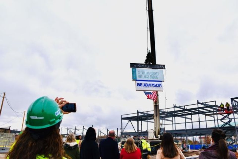 Photo -  A recent topping out ceremony was held at The Well, which will become a health and wellness hub for Cleveland County. [PHOTO PROVIDED]