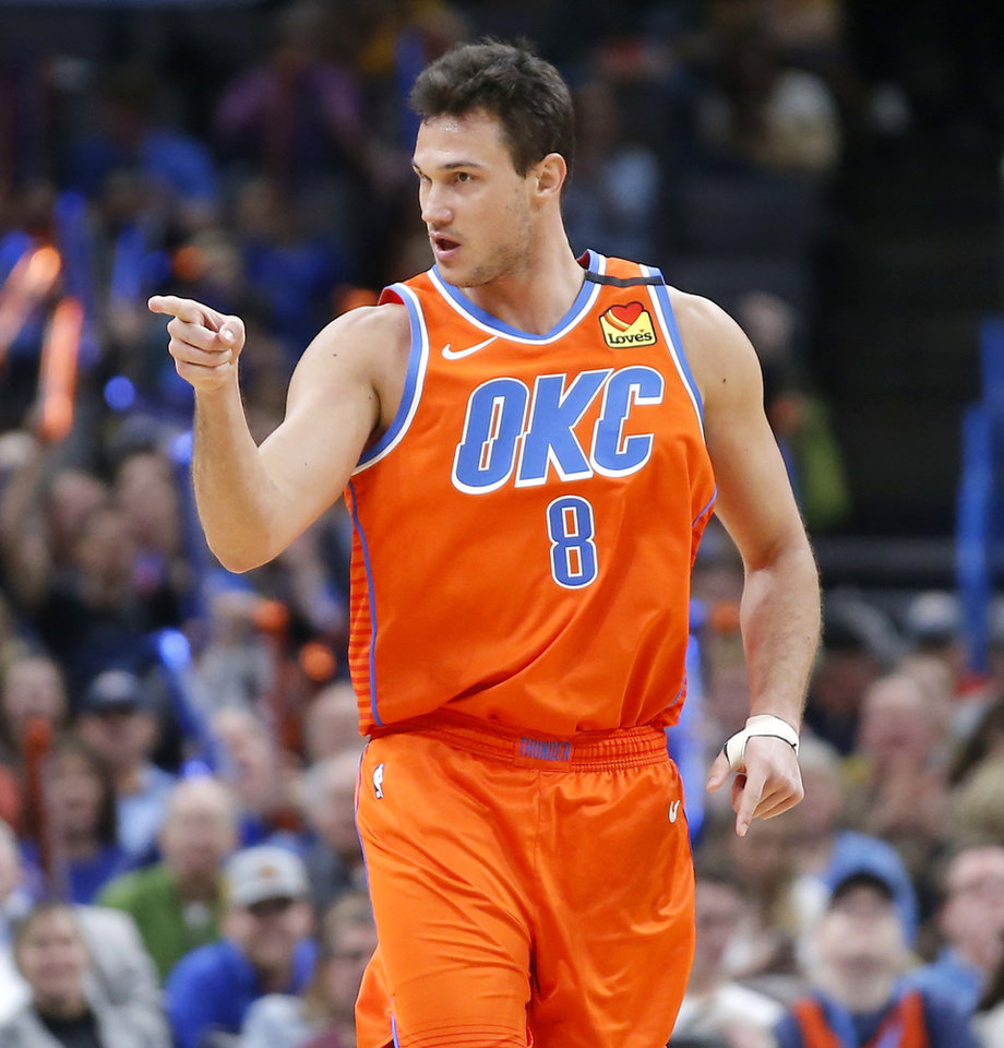 Photo - Oklahoma City's Danilo Gallinari (8) gestures after a basket during an NBA basketball game between the Oklahoma City Thunder and the San Antonio Spurs at Chesapeake Energy Arena in Oklahoma City, Sunday, Feb. 23, 2020. Oklahoma city won 131-103. [Bryan Terry/The Oklahoman]