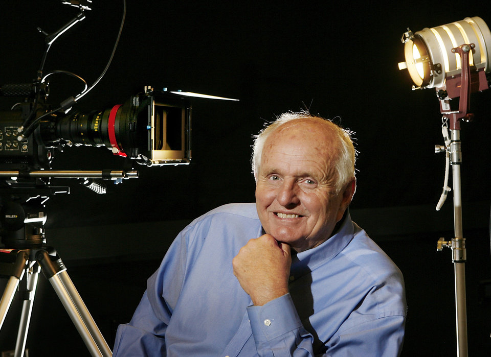 Photo -  Gray Frederickson has been producing major motion pictures, including three Godfather films, for 50 years. He is now at Oklahoma City Community College.  He was photographed on campus, Wednesday, May 6, 2009  Photo by JIM BECKEL, THE OKLAHOMAN