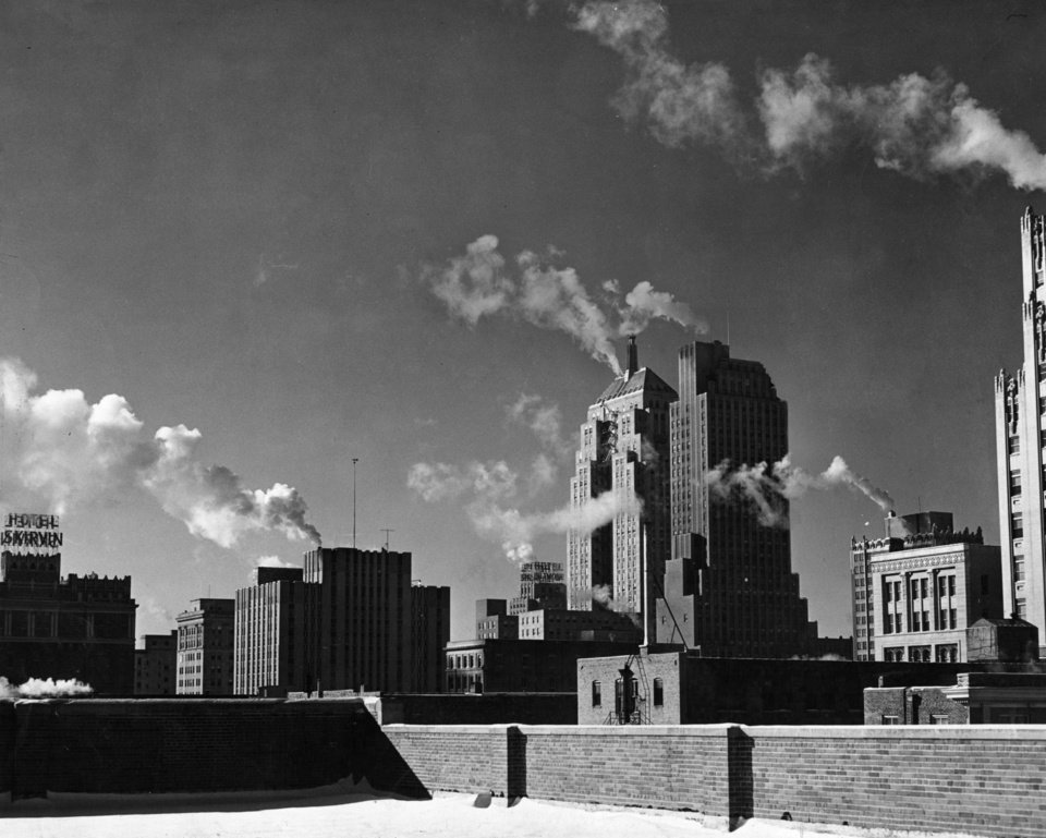 OKLAHOMA CITY / SKY LINE / OKLAHOMA:  This staff photo shows the downtown skyline, for which the Post credits much to the chamber of Commerce.  Staff photo by Bill Johnson.  Photo dated 01/03/1947 and published on 06/20/1948 in The Daily Oklahoman. Photo arrived in library on 09/19/1947