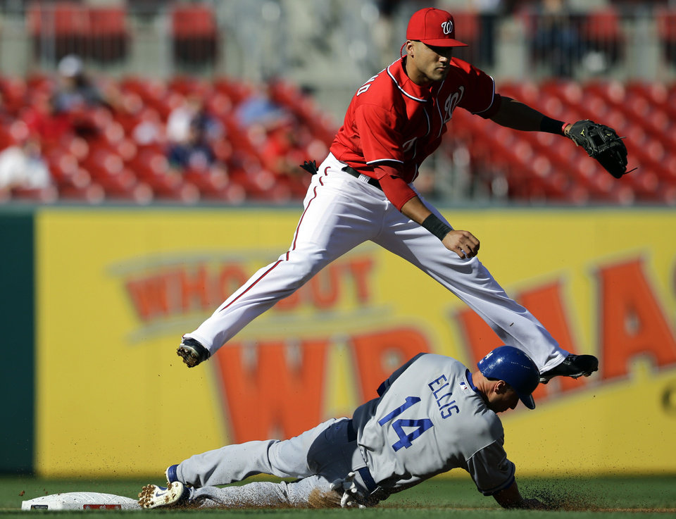 Photo -   Washington Nationals shortstop Ian Desmond jumps over Los Angeles Dodgers' Mark Ellis after getting the out at second base and completing the double play during the first inning of the first baseball game of a doubleheader, Wednesday, Sept. 19, 2012, in Washington. Andre Ethier was out at first. (AP Photo/Alex Brandon)
