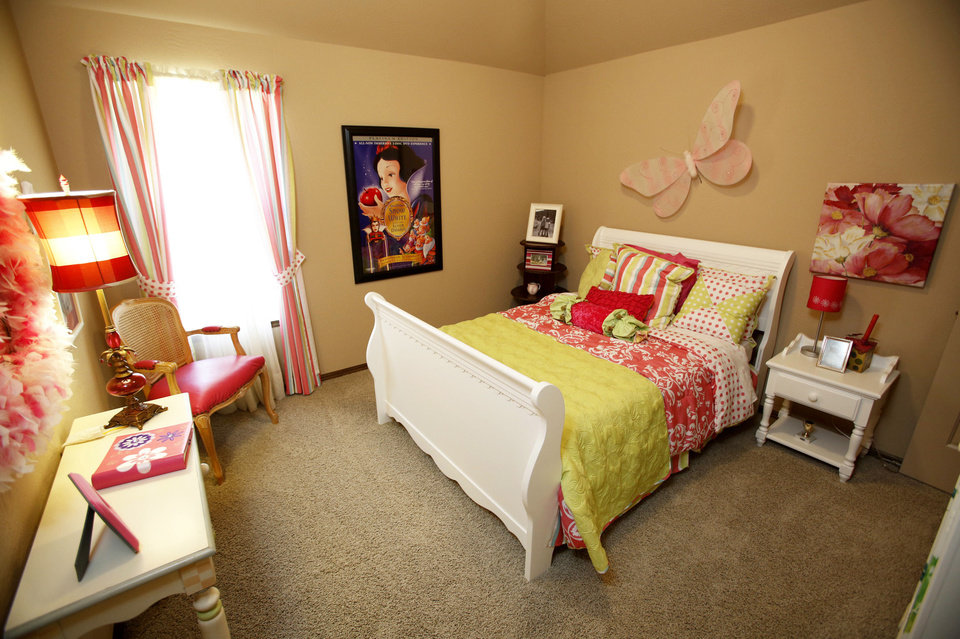 A bedroom in the J.W. Mashburn model at 3129 SW 136 Terrace is staged for a young girl.