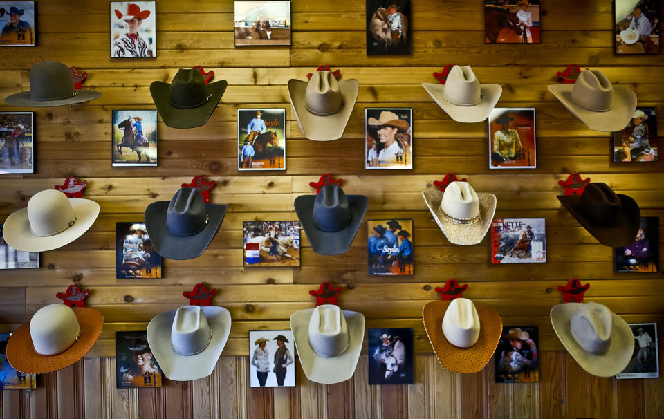 Photo - A small selection of the custom hats created at Shorty's Caboy Hattery in the historic Stockyards on Tuesday, Jan. 26, 2016, in Oklahoma City, Okla. Lavonna