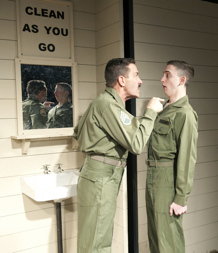 "Ben Hall as Sgt. Merwin J. Toomey and Drew Michael Feldman as Eugene Morris Jerome perform together in ""Biloxi Blues"" at Civic Center Music Hall's CitySpace Theatre. Photo by Wendy Mutz"