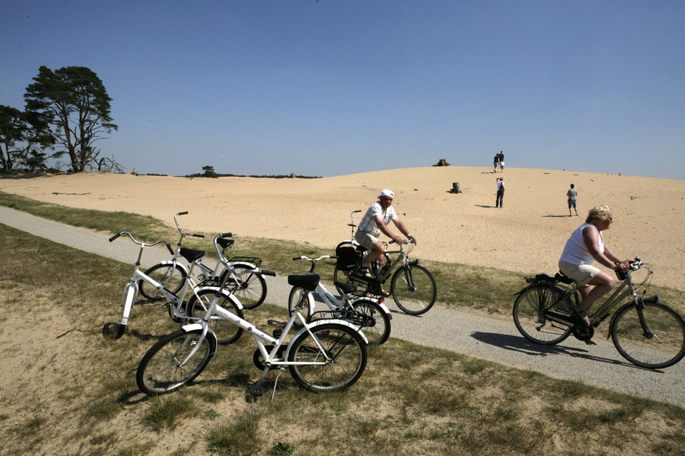 In this photo taken May 8, 2008, visitors ride their bicycles through the national park surrounding Kroeller-Mueller museum, Otterlo, eastern Netherlands, Thursday, May 8, 2008. With the Van Gogh Museum in Amsterdam closed for renovations, the world\'s second-largest collection of the tortured Dutch master\'s work is stepping into the limelight. The lesser-known Kroeller-Mueller museum in the eastern Netherlands has revamped the layout of its central rooms, giving more space and focus to many of its top works. (AP Photo/Peter Dejong)