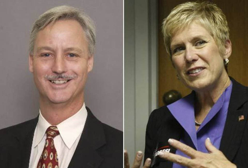 LEFT: Tim Gilpin, Board of Education member. RIGHT: Janet Barresi, state Superintendent