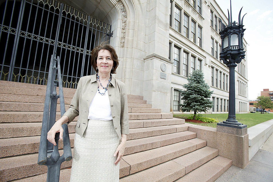 Oklahoma City University Law School Dean Valerie Couch stands in front of former Central High School. Photo by Steve Gooch, The Oklahoman