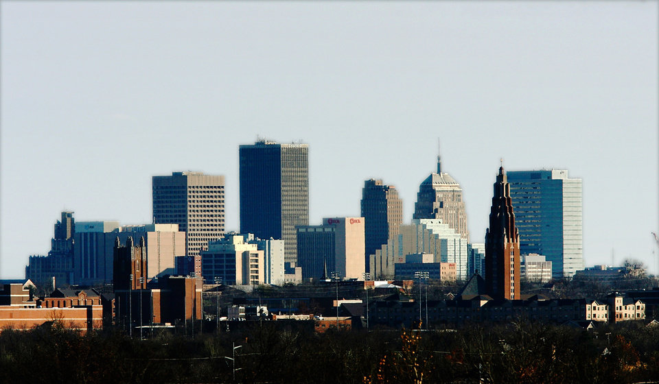 Photo - Oklahoma City downtown skyline as seen from  Integris Baptist Hospital Wednesday, Dec. 2, 2009.  Photo by Jim Beckel, The Oklahoman ORG XMIT: KOD