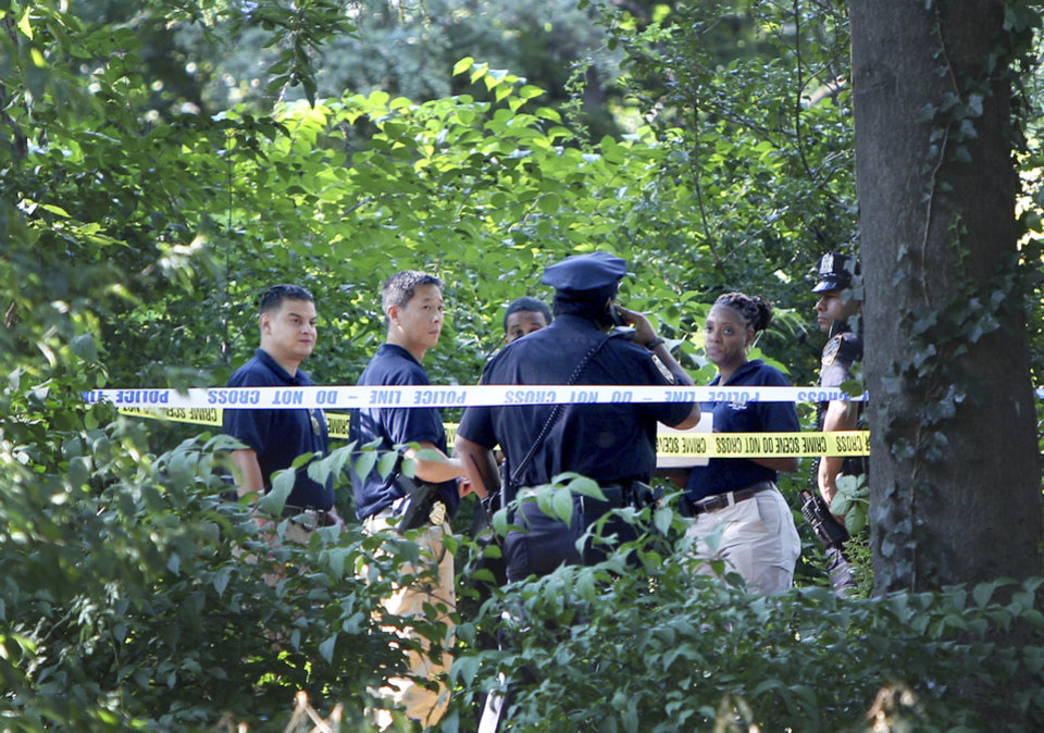 Photo -   Police officers talk near a crime scene in a heavily wooded section of Central Park in New York, Wednesday, Sept. 12, 2012. Police say a woman in her 70s has reported that she was sexually assaulted in Central Park. (AP Photo/Seth Wenig)