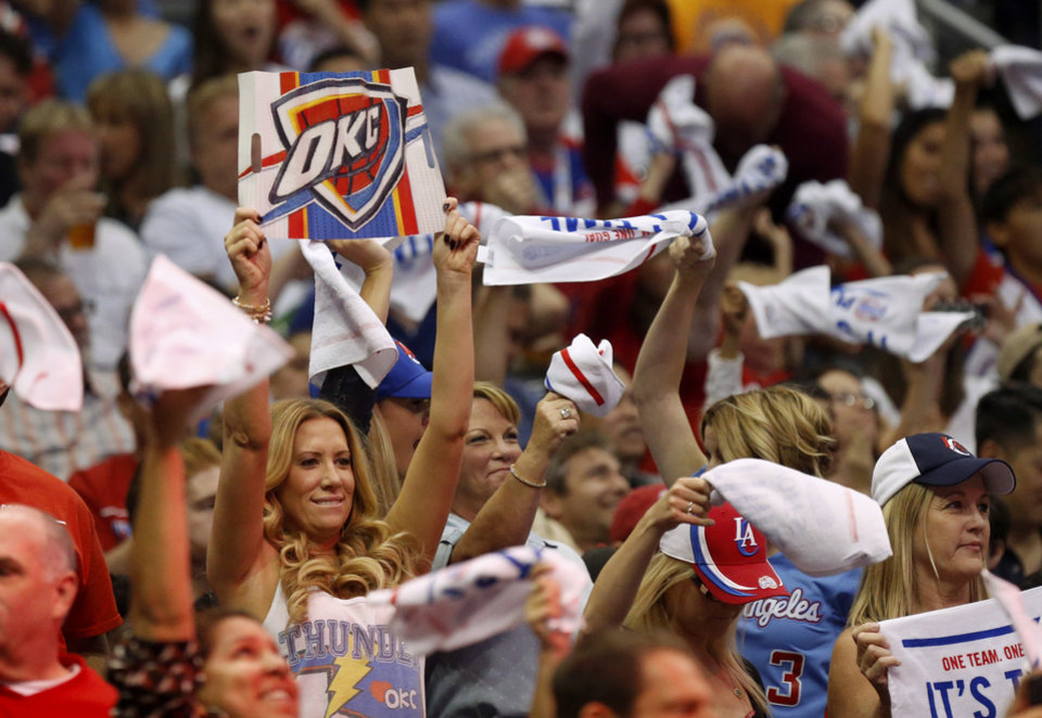 Photo - Oklahoma City fans cheer during Game 4 of the Western Conference semifinals in the NBA playoffs between the Oklahoma City Thunder and the Los Angeles Clippers at the Staples Center in Los Angeles, Sunday, May 11, 2014. Photo by Nate Billings, The Oklahoman