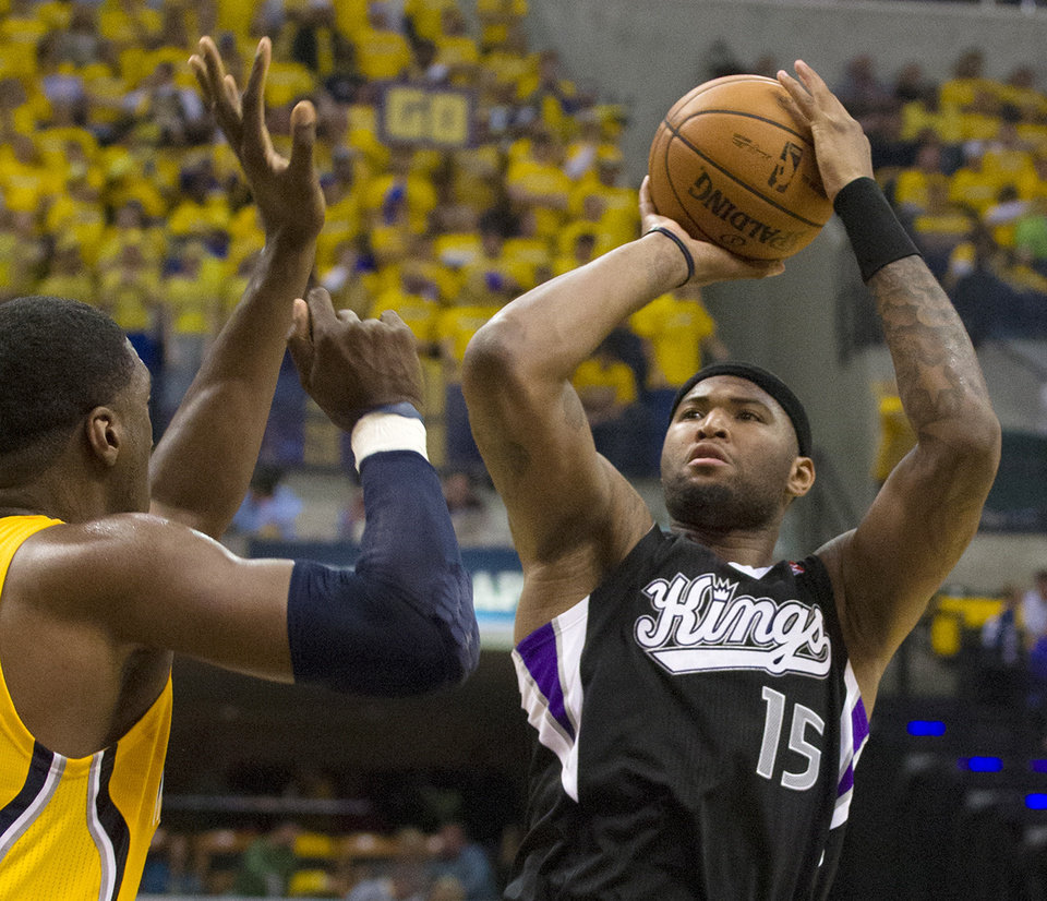 Photo -   Sacramento King's DeMarcus Cousins goes up for a jumper during an NBA basketball game against the Indiana Pacers in Indianapolis on Saturday, Nov. 3, 2012. (AP Photo/Doug McSchooler)