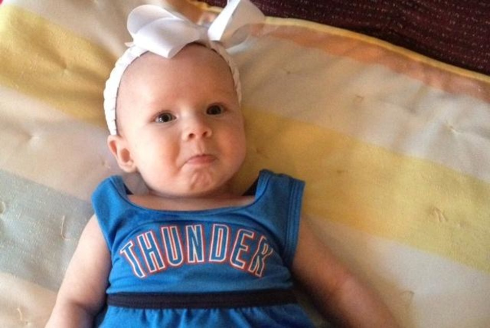 This is how 3mo Arianna feels about last night\'s Thunder game...
