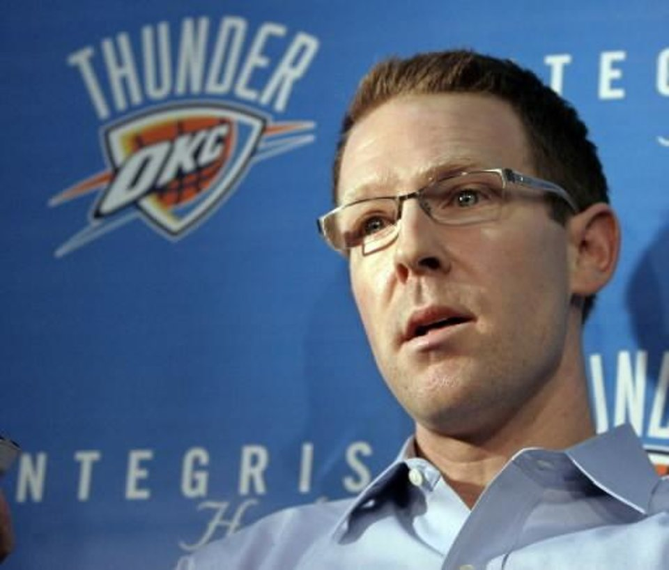 Sam  Presti, Oklahoma City Thunder general manager speaks at a news conference in Oklahoma City, Tuesday, Jan. 12,, 2010.  Presti says he doesn't consider the Thunder's progress to be ahead of schedule just because Oklahoma City is right in the thick of the playoff race after three losing seasons. (AP Photo/Sue Ogrocki)