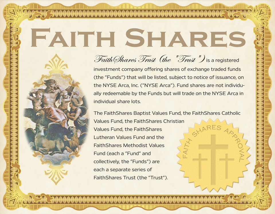 Photo - FAITHSHARES TRUST / GRAPHIC: Faith Shares certificate