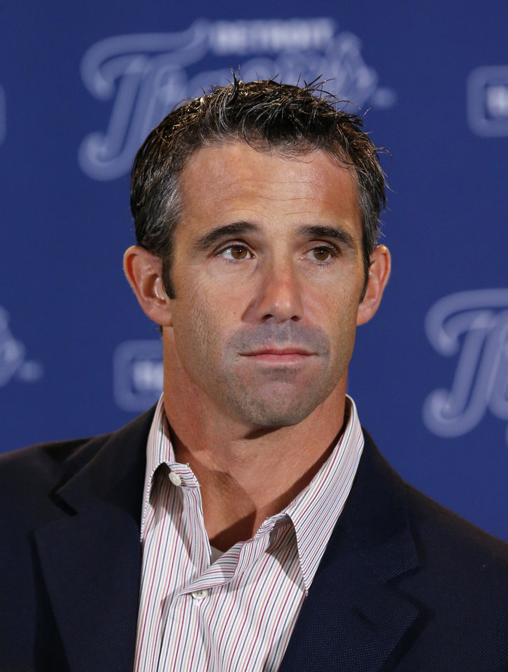 Photo - Brad Ausmus is introduced as the new Detroit Tigers manager during a news conference in Detroit Sunday, Nov. 3, 2013. Ausmus replaces Jim Leyland who stepped down as manager. AP Photo/Paul Sancya)