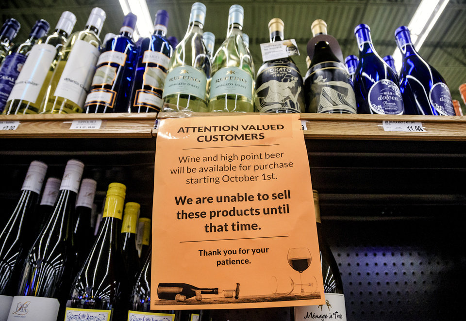 Photo - The new wine section is stocked, and ready  for sales to begin on Oct. 1st. at the Homeland store located at Britton Rd. and May Ave. in Oklahoma City, Okla. on Wednesday, Sept. 26, 2018. Photo by Chris Landsberger, The Oklahoman