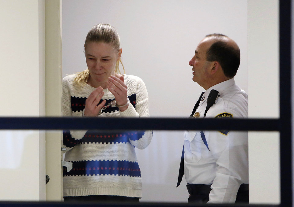 Irish nanny Aisling McCarthy Brady appears at Middlesex Superior Court, Thursday, April 18, 2013, in Woburn, Mass. Brady accused of violently injuring and killing one-year-old Rehma Sabir of Cambridge, Mass., in her care is facing a murder charge. (AP Photo/Bizuayehu Tesfaye, Pool)