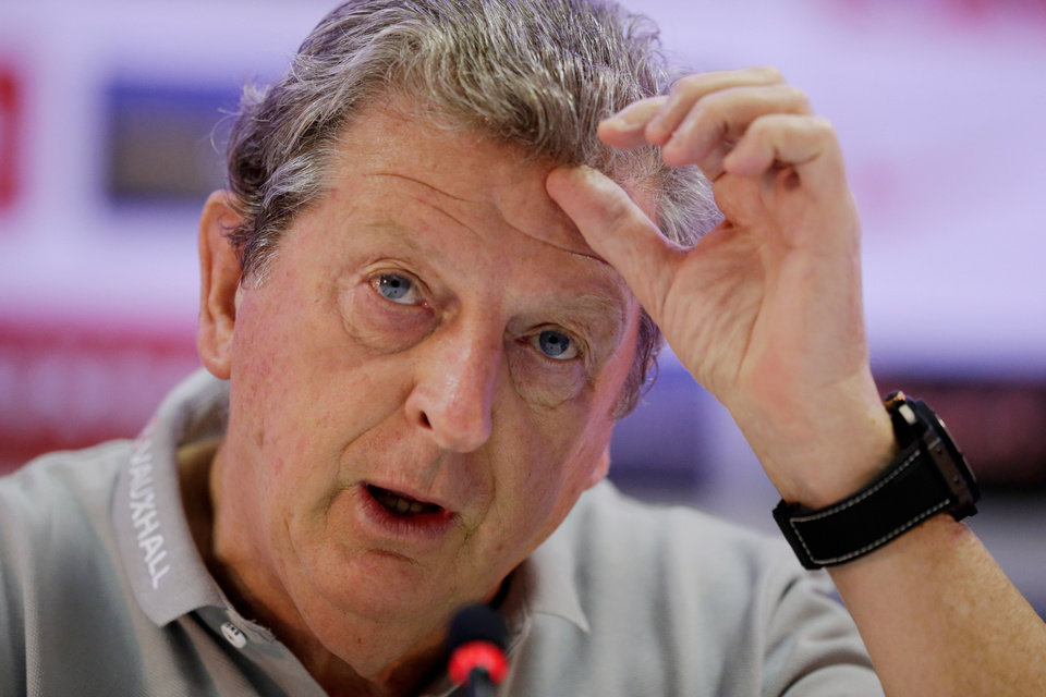 Photo - England national soccer team manager Roy Hodgson speaks during his press conference at the team's training facilities at the Urca military base in Rio de Janeiro, Brazil, Tuesday, June 10, 2014.  The England soccer team are staying in Rio de Janeiro as their base city for the 2014 soccer World Cup.  (AP Photo/Matt Dunham)