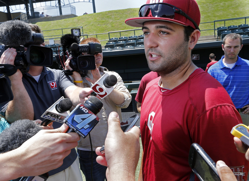 Photo - University of Oklahoma (OU) Sooner Baseball player Anthony Hermelyn  speaks to the media on Tuesday, June 4, 2013 in Norman, Okla.  Photo by Steve Sisney, The Oklahoman
