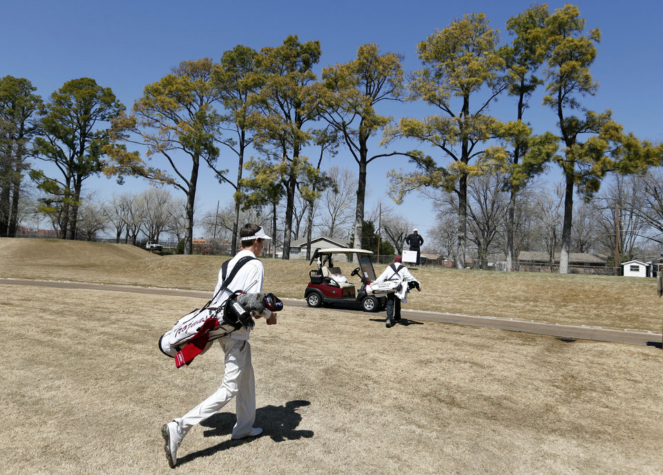 Jenks golfer Drew Williams walks to the tee on hole 11 during the Norman North Invitational Golf  Tournament at the Jimmie Austin Golf Club on Tuesday, March 26, 2013, in Norman, Okla.   Photo by Steve Sisney, The Oklahoman