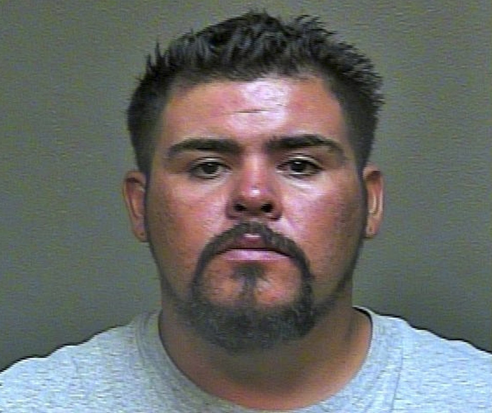 Photo - This undated photo provided by the Oklahoma County Sheriff's Office shows Gustavo Castillo Gutierrez. Gutierrez was arrested on complaints of manslaughter, making an illegal U-turn, causing an accident without a driver's license and possession of a controlled dangerous substance following a crash in northwest Oklahoma City, Saturday, June 20, 2015, in which Oklahoma City sportscaster Bob Barry Jr. was killed. Police say Barry was killed after crashing his motor scooter into Gutierrez's vehicle when Gutierrez made a U-turn on a city street. (Oklahoma County Sheriff's Photo via AP)