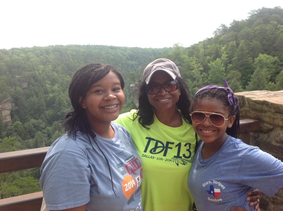 Photo - Me and my girls at the overlook taking in a breathtaking view. Photo by Carla Meadows