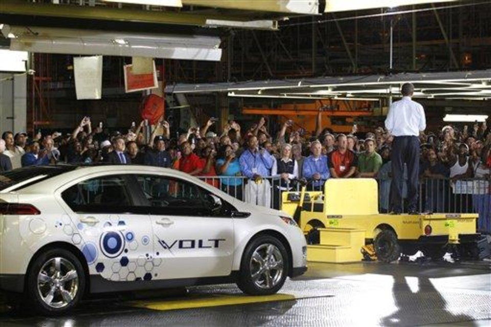 President Barack Obama speaks during his visit to the General Motors Auto Plant in Hamtramck, Mich., Friday, July 30, 2010, where the 2011 Chevy Volt, an electric car, is assembled. (AP Photo/Pablo Martinez Monsivais)