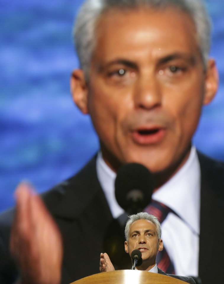 Photo - Chicago Mayor Rahm Emanuel addresses the Democratic National Convention in Charlotte, N.C., on Tuesday, Sept. 4, 2012. (AP Photo/Charles Dharapak)  ORG XMIT: DNC779
