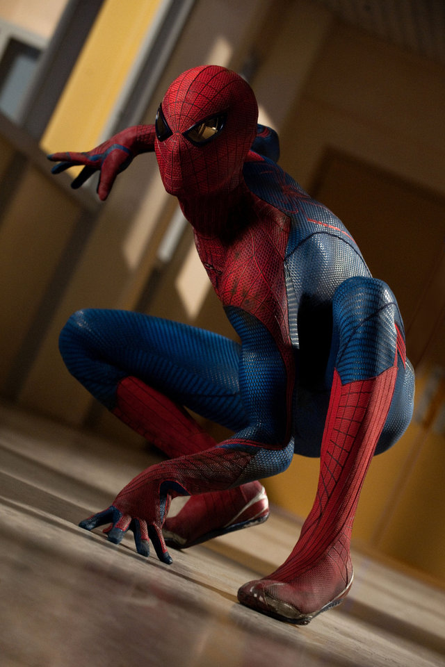 "Andrew Garfield is suited up for Spidey action in a scene from ""The Amazing Spider Man."" COLUMBIA PICTURES PHOTO <strong></strong>"