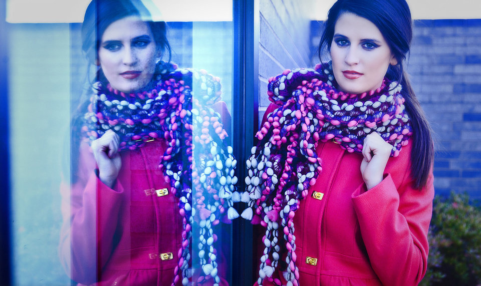 Photo - DKNY fuchsia fitted coat with gold hardware, available at Dillard's, Penn Square Mall. Model is Allora. Makeup by Dakota Gwaltney, The MakeUp Bar. Photo by Chris Landsberger, The Oklahoman.    CHRIS LANDSBERGER