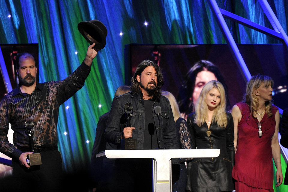 Hall of Fame Inductee of Nirvana, Dave Grohl speaks at the 2014 Rock and Roll Hall of Fame Induction Ceremony on Thursday, April, 10, 2014 in New York. (Photo by Charles Sykes/Invision/AP)