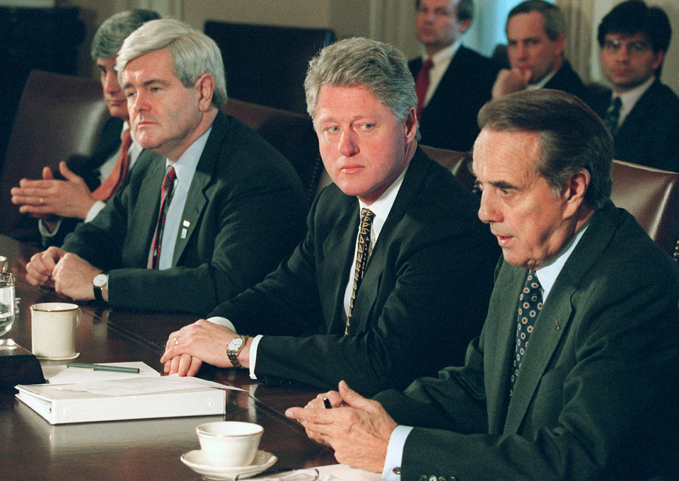 FILE �  In this Dec. 29, 1995, file photo President Clinton meets with Republican congressional leaders, Senate Majority Leader Bob Dole of Kansas, right, and House Speaker Newt Gingrich, second from left, at the White House to discuss the federal budget impasse. Treasury Secretary Robert Rubin is partially visible at left. President Barack Obama and his officials are doing their best to drum up public concern over the shock wave of spending cuts that could strike the government in just days. So it�s a good time to be alert for sky-is-falling hype. (AP Photo/Wilfredo Lee, File)