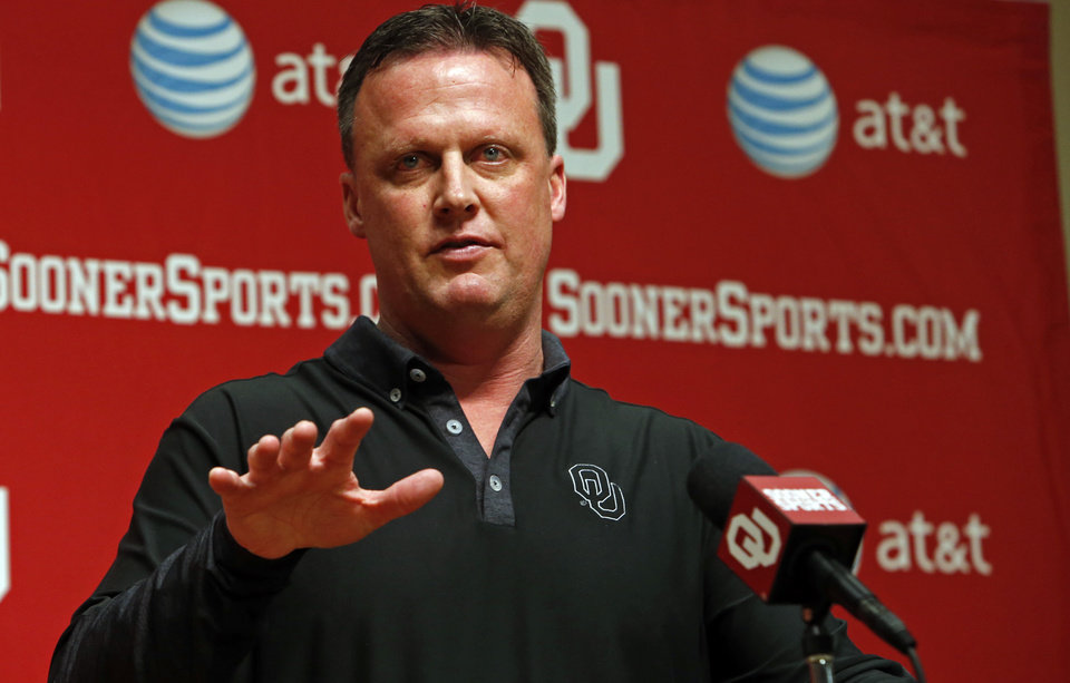 Photo - University of Oklahoma Sooners (OU) football Director of Recruiting and Running Backs coach Cale Gundy talks about his 2014 recruiting class in the Adrian Peterson Meeting Room at Gaylord Family-Oklahoma Memorial Stadium in Norman, Okla., on Wednesday, Feb. 5, 2014. Photo by Steve Sisney, The Oklahoman