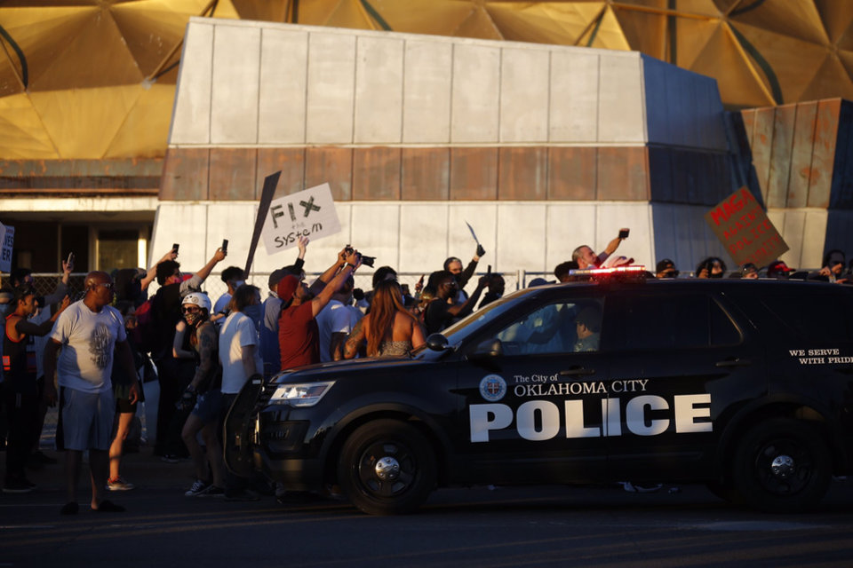 Photo - Protesters gather Saturday, May 30, 2020, near NW 23rd and Classen in Oklahoma City. Photo by Sarah Phipps