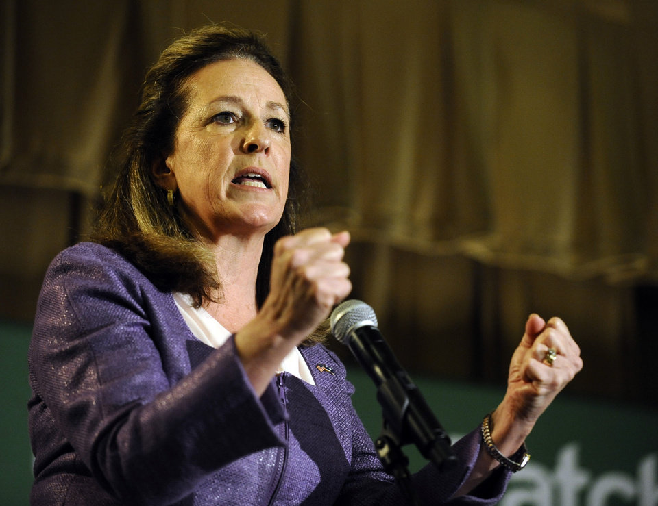 Photo - Democratic candidate Elizabeth Colbert Busch speaks during the 1st Congressional District debate on Monday, April 29, 2013 in Charleston S.C. (AP Photo/Rainier Ehrhardt)