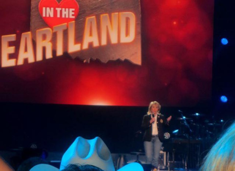Gov. Mary Fallin talks to the audience at the Chesapeake Arena. (Photo by Helen Ford Wallace).