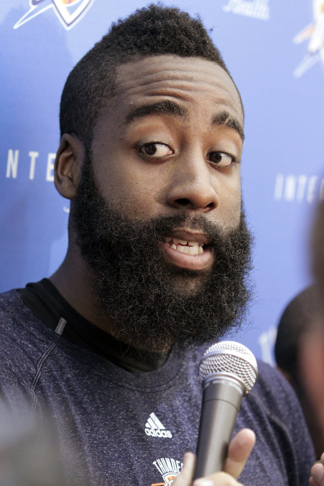James Harden speaks with the media following practice at the Oklahoma City Thunder practice facility on Friday, April 27, 2012, in Oklahoma City, Okla.  Photo by Steve Sisney, The Oklahoman