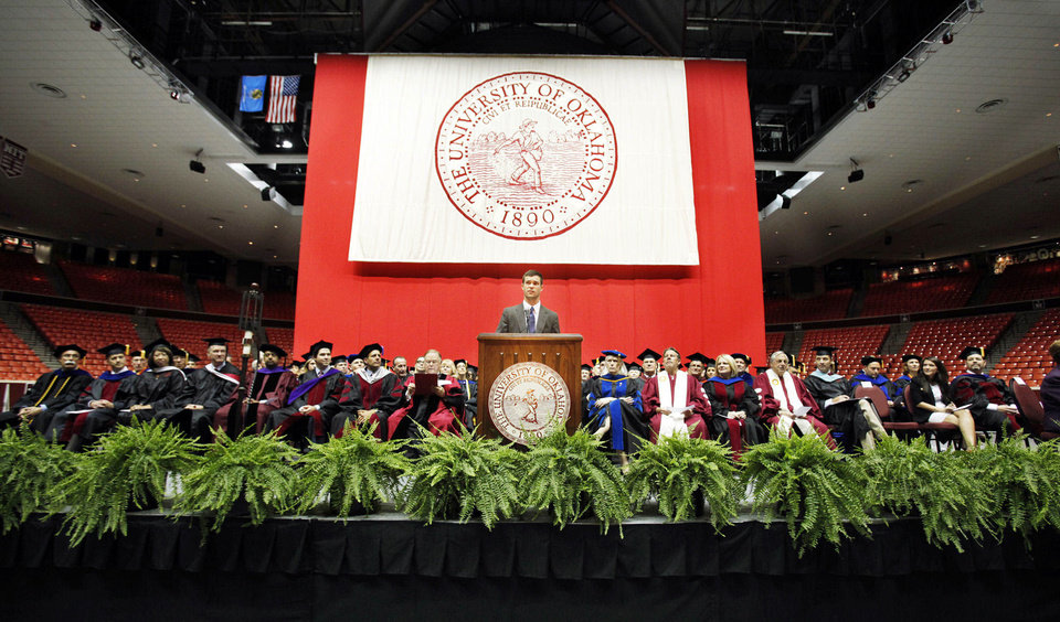 Photo - Joe Sangirardi, president of the OU Student Association, speaks Thursday during 2012 Convocation at the Lloyd Noble Center at the University of Oklahoma. Photos by Steve Sisney, The Oklahoman