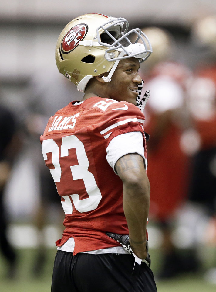 Photo - San Francisco 49ers running back LaMichael James (23) waits to run a play during practice on Wednesday, Jan. 30, 2013, in New Orleans. The 49ers are scheduled to play the Baltimore Ravens in the NFL Super Bowl XLVII football game on Feb. 3. (AP Photo/Mark Humphrey)