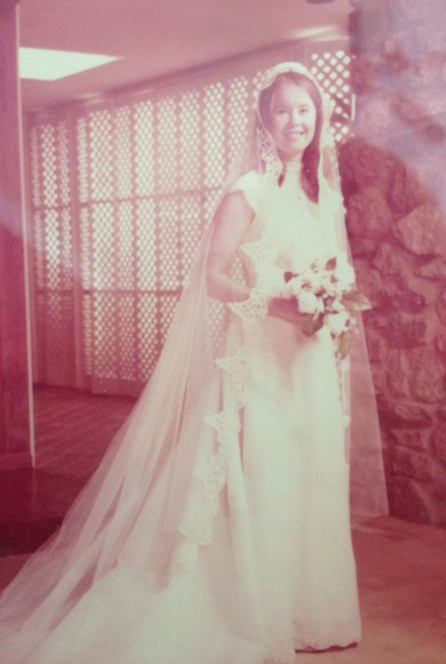 Photo - Lyn Parrish Patton was married May 27, 1978. Five years earlier, Farrah Fawcett wore a similar style gown that went straight to the floor. Patton's daughter intends to wear the gown someday, she said. Photo provided by Lyn Patton.