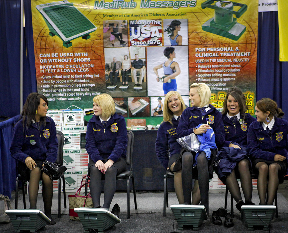 FFA students take a break to get a foot massage during the FFA state convention at the Cox Convention Center on Wednesday April 29, 2009, in Oklahoma City, Okla.  Photo by Chris Landsberger, The Oklahoman