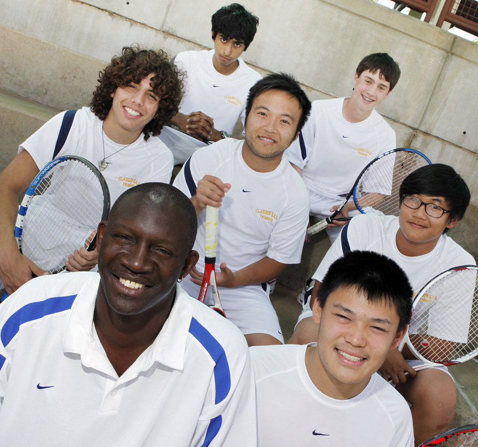 Photo - Front row from left, Classen S.A.S tennis coach Ron Mims, player Chris Chan; second row from left, players Arturo Dargence, Hai Nguyen, Danny Vo; third row from left, players Neil Pruthi and David Sergent (cq SERGENT) pose for a photo at the OKC Tennis Center in Oklahoma City, Wednesday, May 13, 2009.  Photo by Nate Billings, The Oklahoman  ORG XMIT: KOD