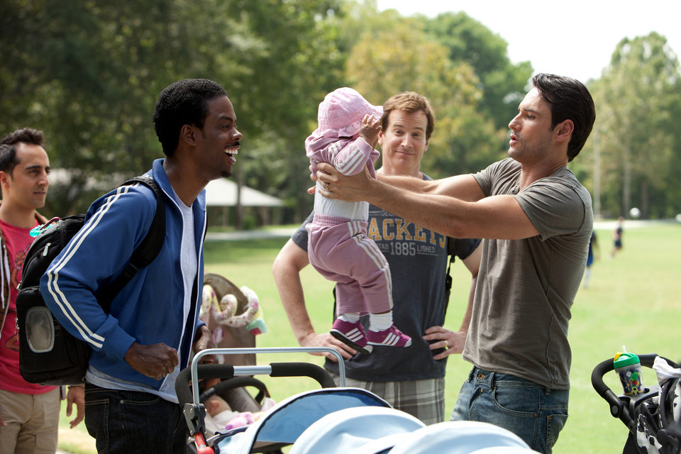 Photo -   In this film image released by Lionsgate, Chris Rock, left, and Rodrigo Santoro, right, are shown in a scene from
