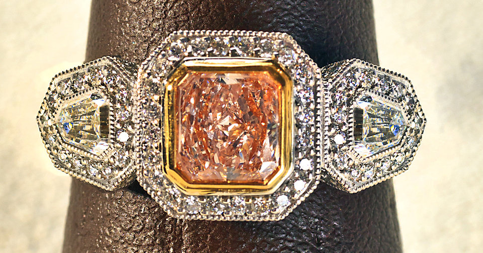 Photo - This fancy pink radiant-cut ring is a spectacular example of a rare diamond. Ring sold at BC Clark Jewelers. Photo by Chris Landsberger, The Oklahoman.  CHRIS LANDSBERGER