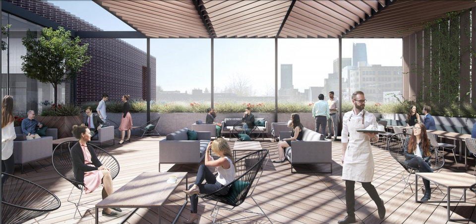 Photo -  Designs for the new building planned along Automobile Alley include a rooftop restaurant.