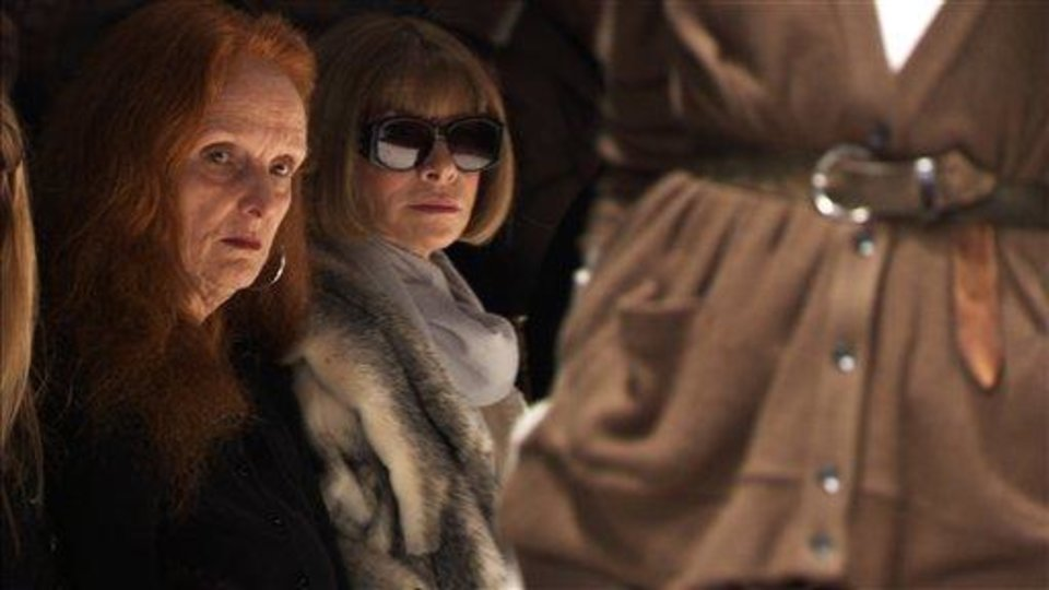 FILE - This photo released by Roadside Attractions shows Grace Coddington, left, Creative Director, VOGUE; and Anna Wintour, Editor-in-Chief, VOGUE, right in